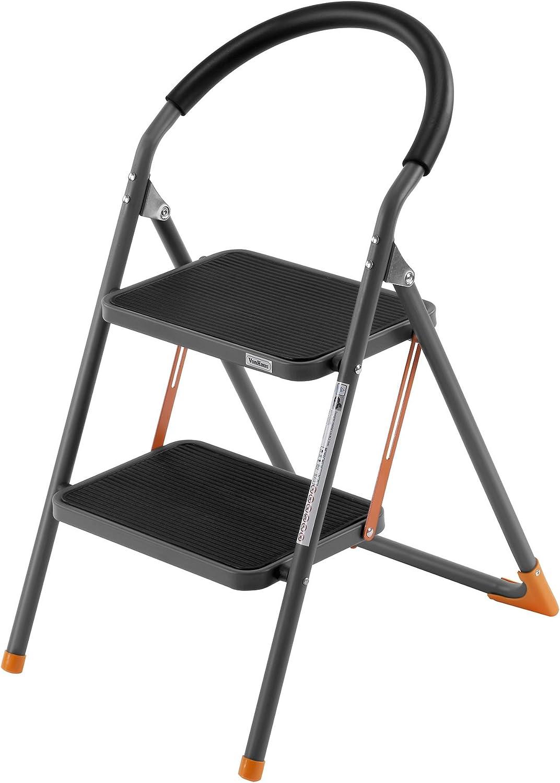 VonHaus - Escalera de acero con 2 peldaños anchos antideslizantes, resistente, portátil, plegable / Taburete con goma de agarre antideslizante Pasamanos con espuma protectora.: Amazon.es: Bricolaje y herramientas