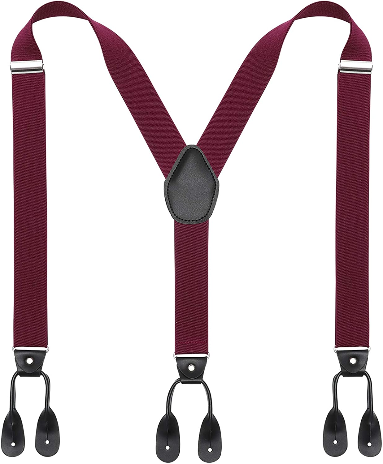 Mens Braces Button End Suspenders Y Shaped 1.4 Inches Width Elastic Suspenders with Heavy Duty Leather Buttons End Adjustable Braces