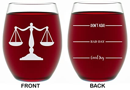 Lawyer Gifts For Women Men 2 Sided Funny Unique Novelty Stemless Wine