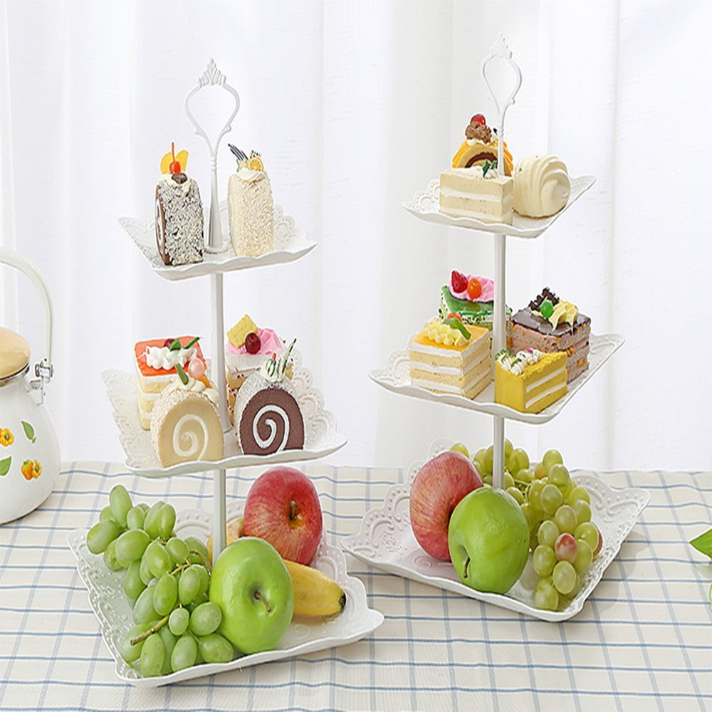 Candora 2 Sets Plastic Imitation Ceramics 3 Tier Cake Stand 6''&8''&10'' Party Food Server Display Set Dessert Stand Slate Serving Set for Sweet time