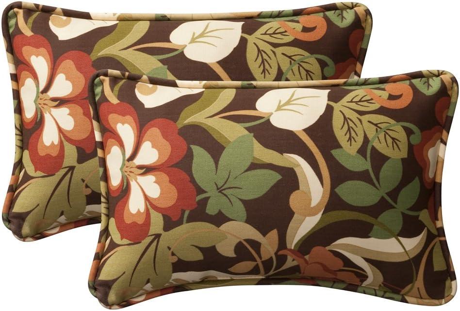 Pillow Perfect Decorative Brown/Green Tropical Toss Pillows, Rectangle, 2-Pack