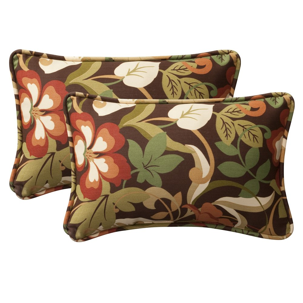 amazoncom pillow perfect decorative browngreen tropical toss  - amazoncom pillow perfect decorative browngreen tropical toss pillowsrectangle pack home  kitchen