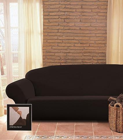 Chezmoi Collection Brooks Micro Suede 4-Way Stretch Slipcover Sofa, Black