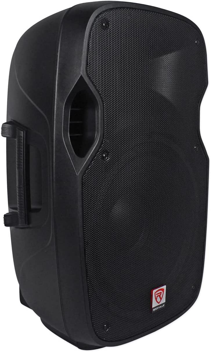 """2 Rockville SPGN154 15/"""" Passive 1600W ABS Plastic PA Speakers+Stands+Cables+Bags"""