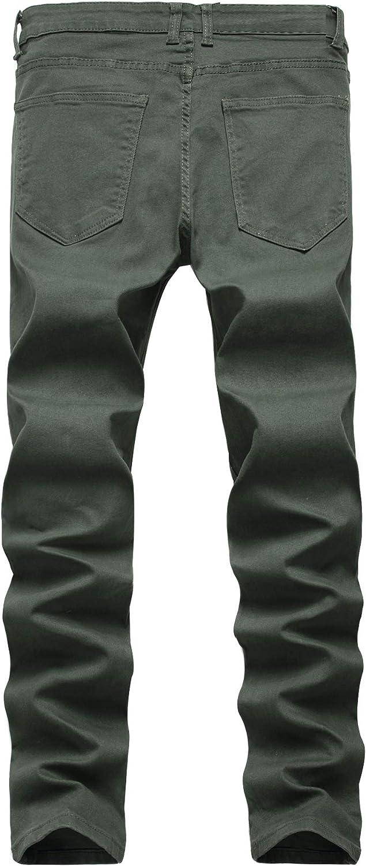 Geurzc Stretch Slim Fit Skinny Jeans for Men
