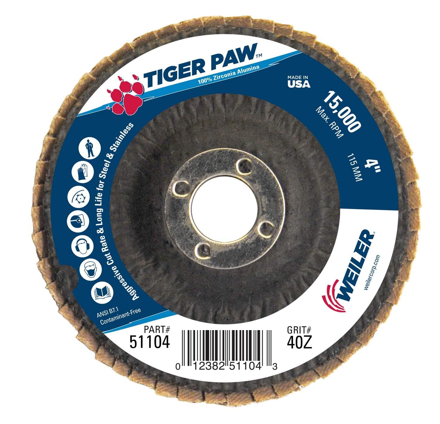 Phenolic Backing 4 Diameter 5//8 Arbor Weiler Corporation 5//8 Arbor Zirconia Alumina Weiler 51105 Tiger Paw High Performance Abrasive Flap Disc Pack of 10 Type 29 Angled Style 15000 RPM 60 Grit 4 Diameter