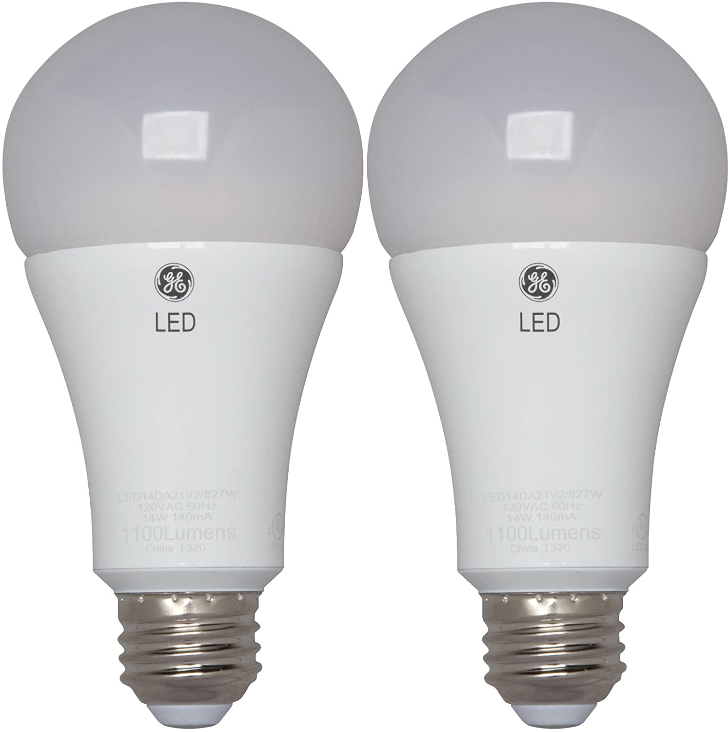 GE Lighting 30915 LED 17-Watt (100-watt replacement) 1600-Lumen A21 Light Bulb with Medium Base, 2-Pack