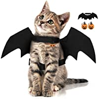 Halloween Pet Bat Wings with 2pcs Pumpkins Bell Cat Dog Bat Costume Halloween Pet Costumes Accessories for Small Dogs…