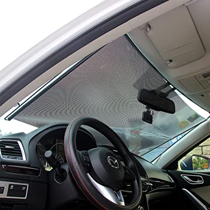 4ac55f9e888 Amazon.com  LOCEN Car Windshield Sunshades Front Windows Sun Shades Roller UV  Protection for Children 58 cm  Automotive