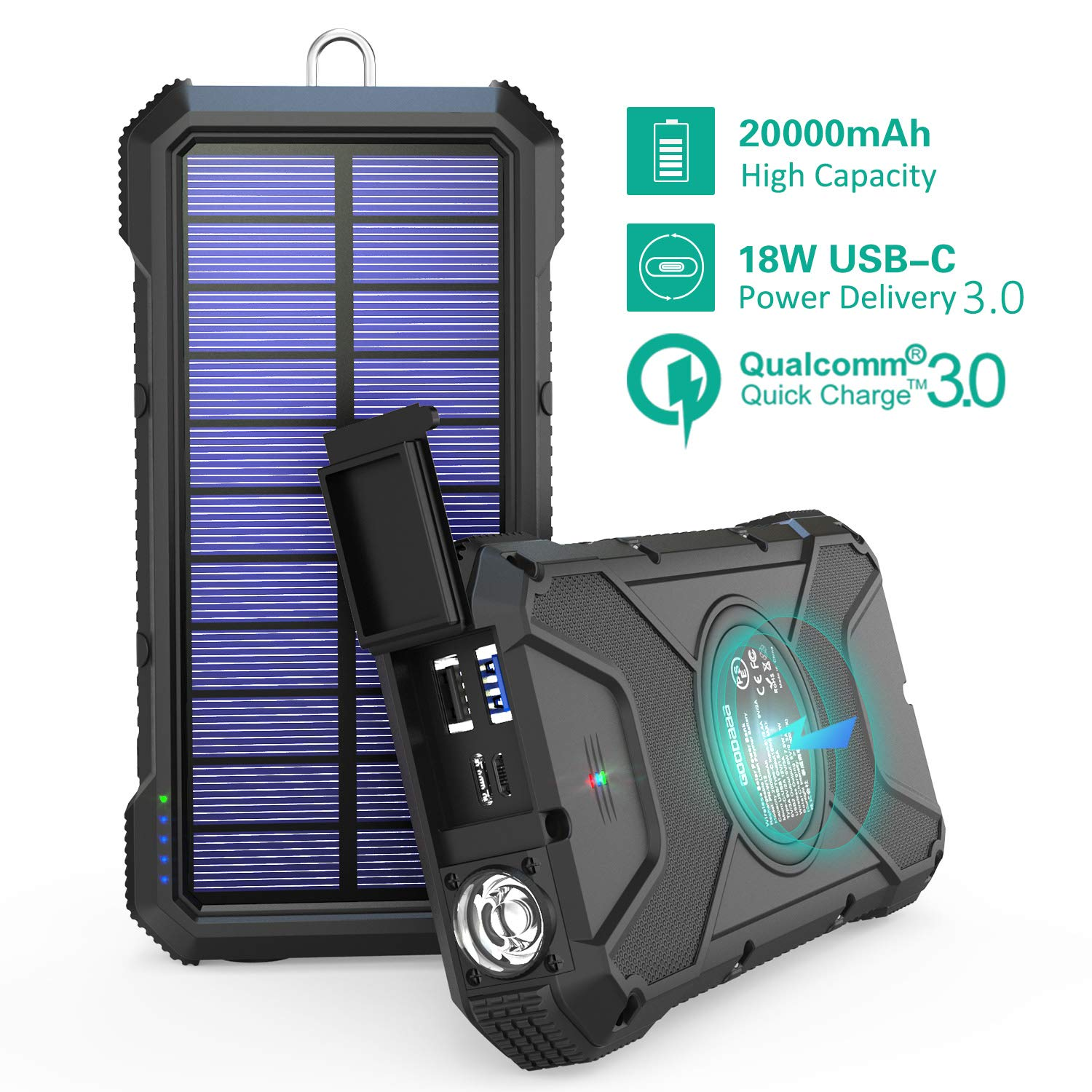 Solar Power Bank 20000mAh, GOODaaa18W PD USB C & QC 3.0 IPX5 Waterproof Solar Charger, 10W/7.5W/5W Fast Wireless Qi Battery Pack with 4 Outputs & 2 Inputs, Built-in Compass and Flashlight by BLAVOR