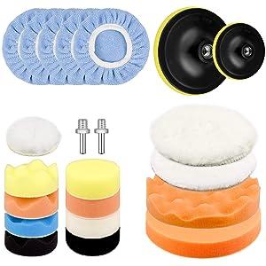 Awpeye 3 Inch 6 Inch Car Polishing Pad Kit 22 PCS, Car Foam Drill Buffing Pads Sponge, Wool Polishing Pad, Polisher Pad Bonnet Set