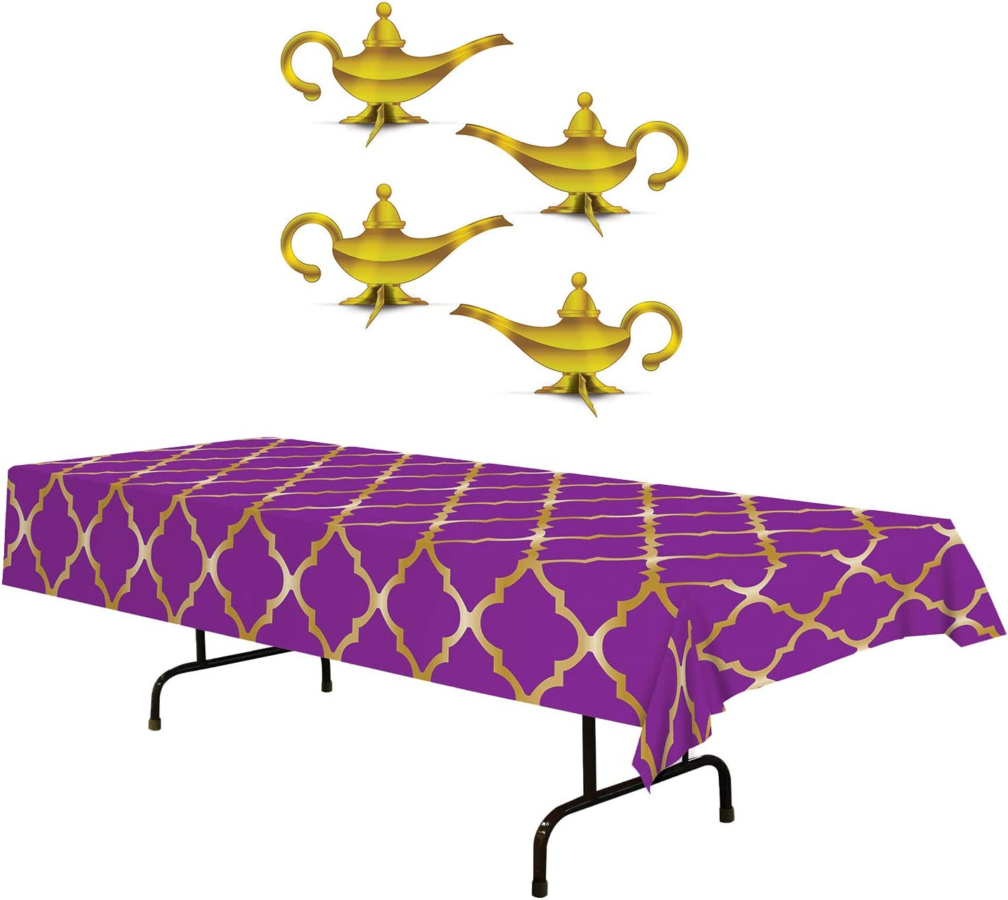 Arabian Nights Party Table Décor | Includes Purple & Gold Lattice Tablecover and 3-D Foil Lamp Centerpieces