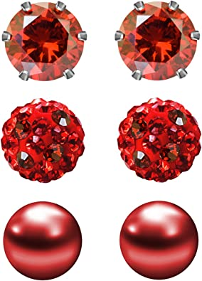 Red beaded earrings with Cubic zirconia plated