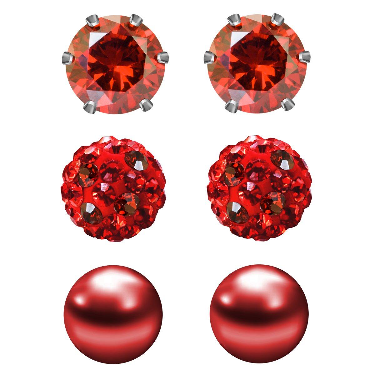 JewelrieShop Cubic Zirconia Rhinestones Crystal Ball Faux Pearl Birthstone Stud Earrings for Women Girls - Hypoallergenic Stainless Steel Earrings - 3 Pairs 1305-130-M01-3P