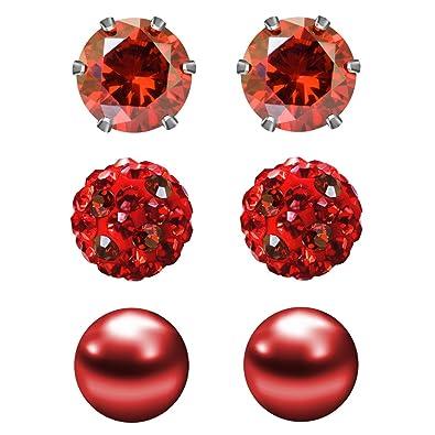 f9e148d01 JewelrieShop Cubic Zirconia Rhinestones Crystal Ball Faux Pearl Birthstone  Stud Earrings for Women Girls - Hypoallergenic