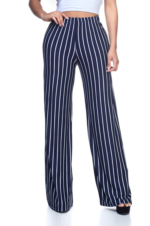 Women's Junior Plus J2 Love Wide Leg Jersey Pants, 2X, Stripe - Navy