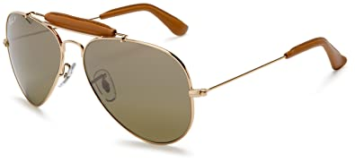 08fbe8315 Ray-Ban RB3422Q Outdoorsman Craft Aviator Sunglasses, Gold & Light Brown  Leather/Polarized