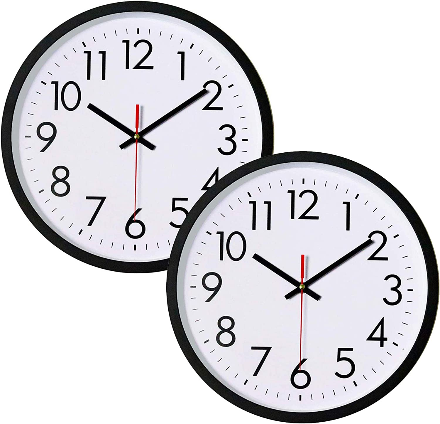 Lumuasky 12 Inch Black Wall Clock, Silent Non-Ticking Quality Quartz Battery Operated Round Easy to Read Decorative for Home Office School (2 Pack)