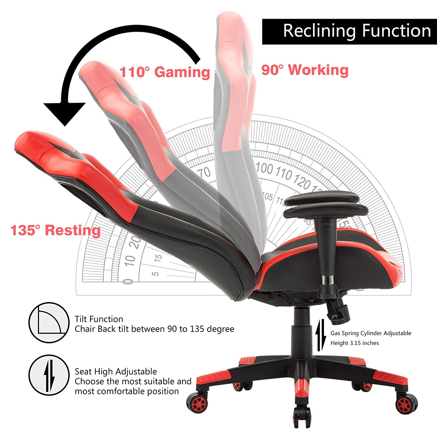 Simlife 440 LBS Large PC Gaming Racing Chair Tall Back Swivel Office Computer Desk Chairs with 135 Back Reclining Adjustable Height Armrest, Gifts for Boy