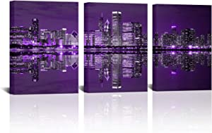 3 Panels New York City Canvas Wall Art Purple Cityscape Pictures NYC Skyline Poster Prints Modern Home Bedroom Bathroom Office Wall Decor Gift Stretched Ready to Hang 12