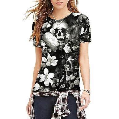 Rose Funeral Schädel Knochen Print Klassische Lässige T-Shirts Für Paare M