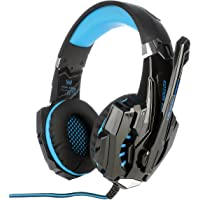 KOTION EACH G9000 3.5mm Gaming Headphone Game Headset Noise Cancellation Earphone with Mic LED Light Black-blue
