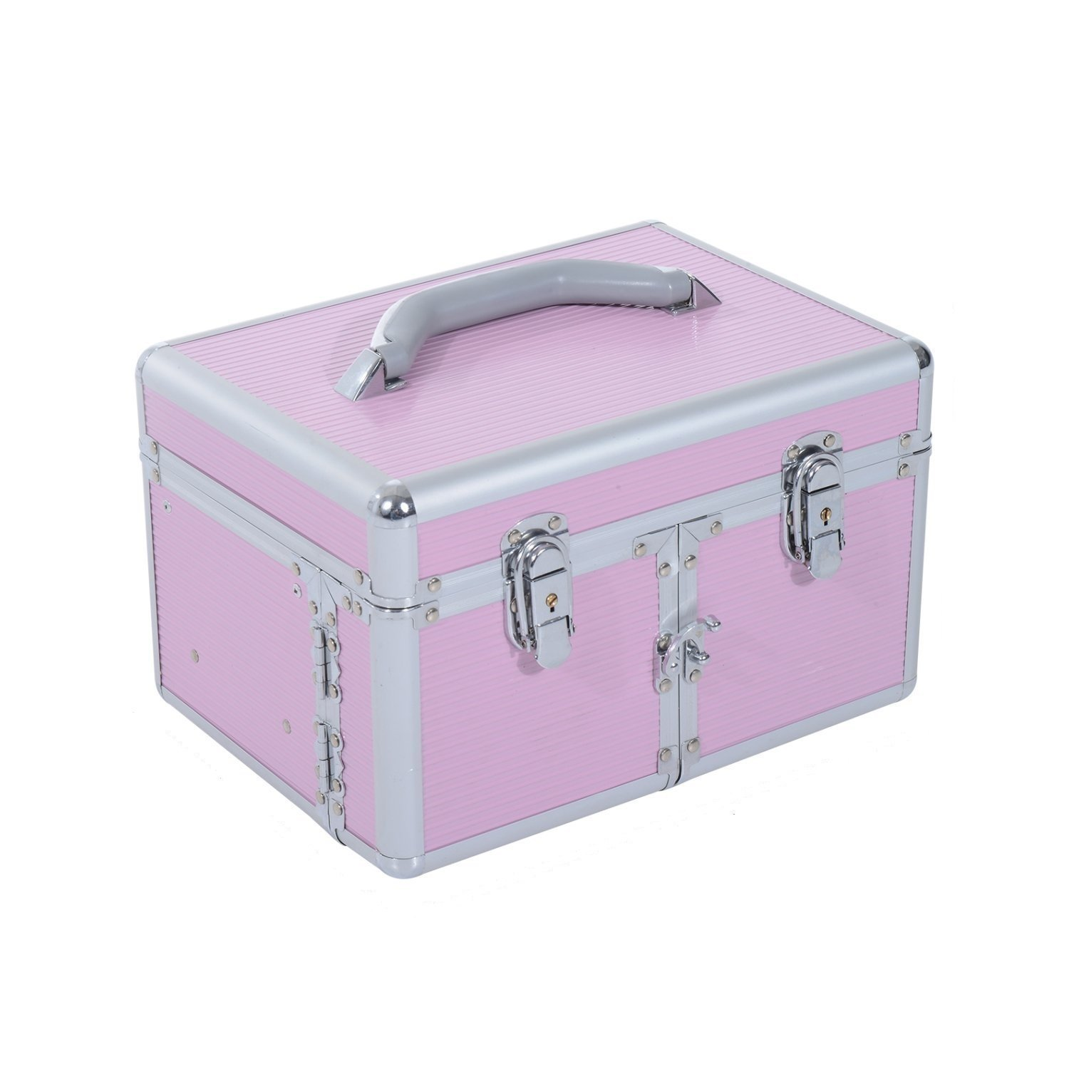 Soozier Pro Makeup Train Case Cosmetic Organizer Box Mirror Lock Pink Aosom Canada
