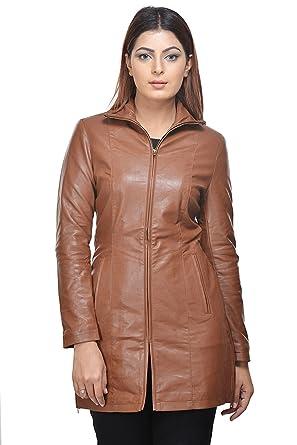 258ec1643 Penymall Women tan Brown Casual Stylish Winter Long Leather Jacket ...