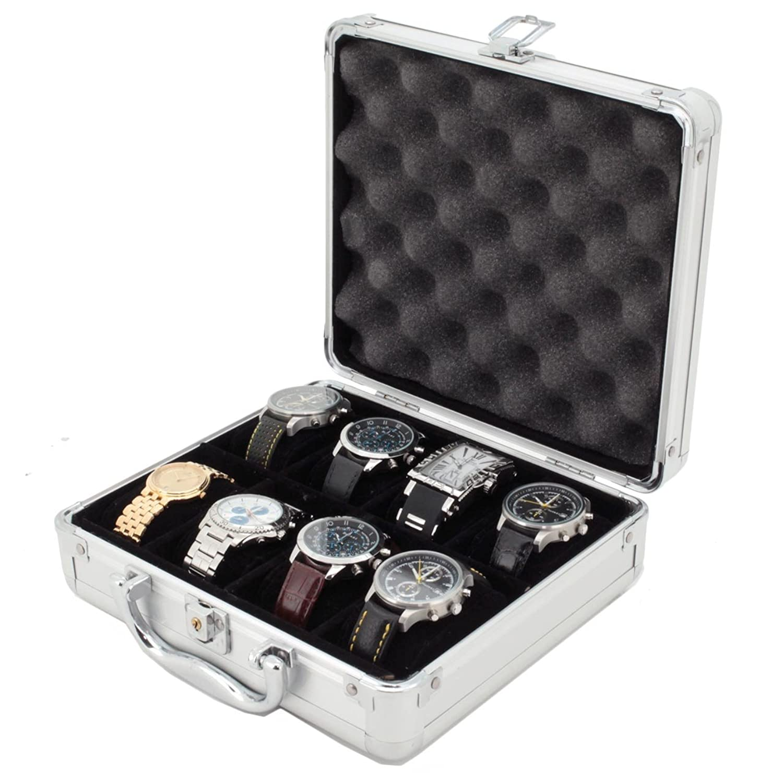 腕時計ケース 8本用 コレクター向け ブリーフケース 安全に保管 アルミハンドル B004R5FCB6