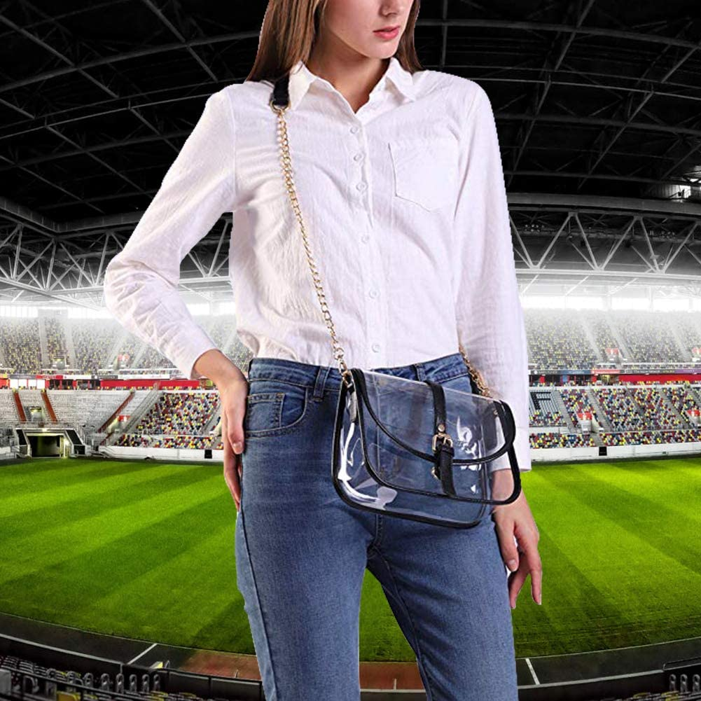 S SUNINESS Clear Stadium Bag Crossbody Women Ladies Transparent Purse with Removable Long Chain