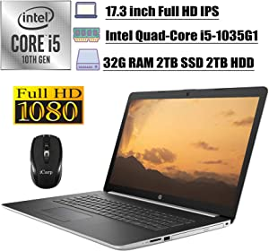"2020 Premium HP 17 Pavilion Business Laptop, 17.3"" FHD IPS, 10th Gen Intel 4-Core i5-1035G1(Beats i7-8550U), 32GB DDR4 2TB SSD 2TB HDD, DVD Backlit KB WiFi HDMI Win 10 + iCarp Wireless Mouse"