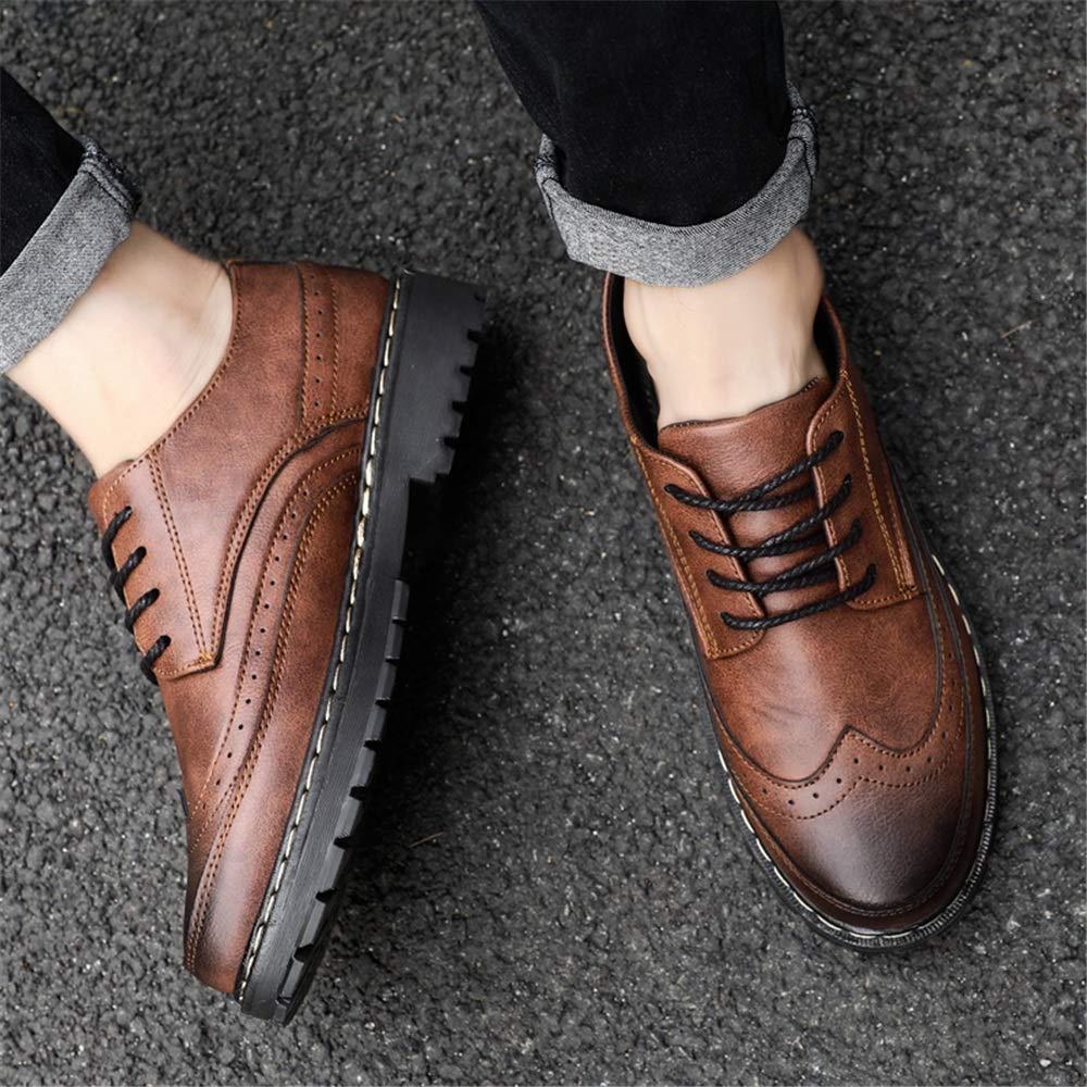 Mens Fashion Comfortable Outsole Oxford Casual Retro Wipe Ribbon Brogue Shoes Happy-L Shoes