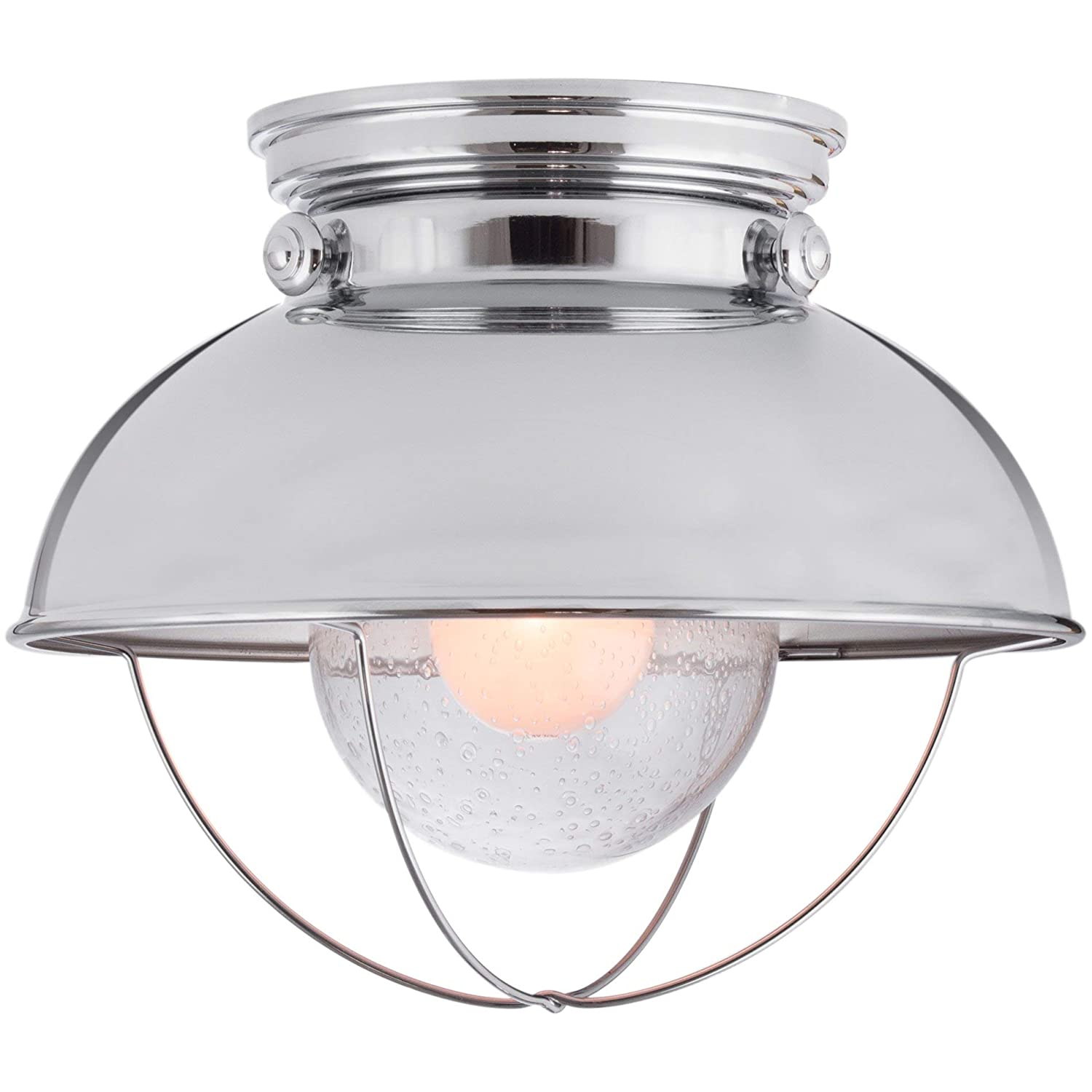 "Kira Home Bayside 11"" Industrial Farmhouse Flush Mount Ceiling Light + Seeded Glass Shade, Chrome Finish"
