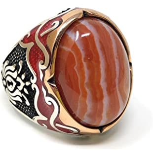 Stone Mens Ring w//Green Enameled K62F KAR New 925K Sterling Silver Agate Aqeeq