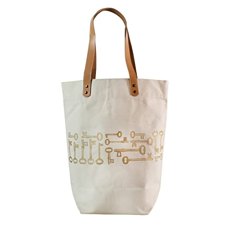 b02f056bb3be Amazon.com  Classic Canvas Leather Gold Keys Tote Bag