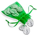 DANFORTH - Vilmain Four Leaf Clover Pocket Tokens/Coins, Good Luck Charm, Pewter, Made in USA, Gift Bag (Pack of 10)