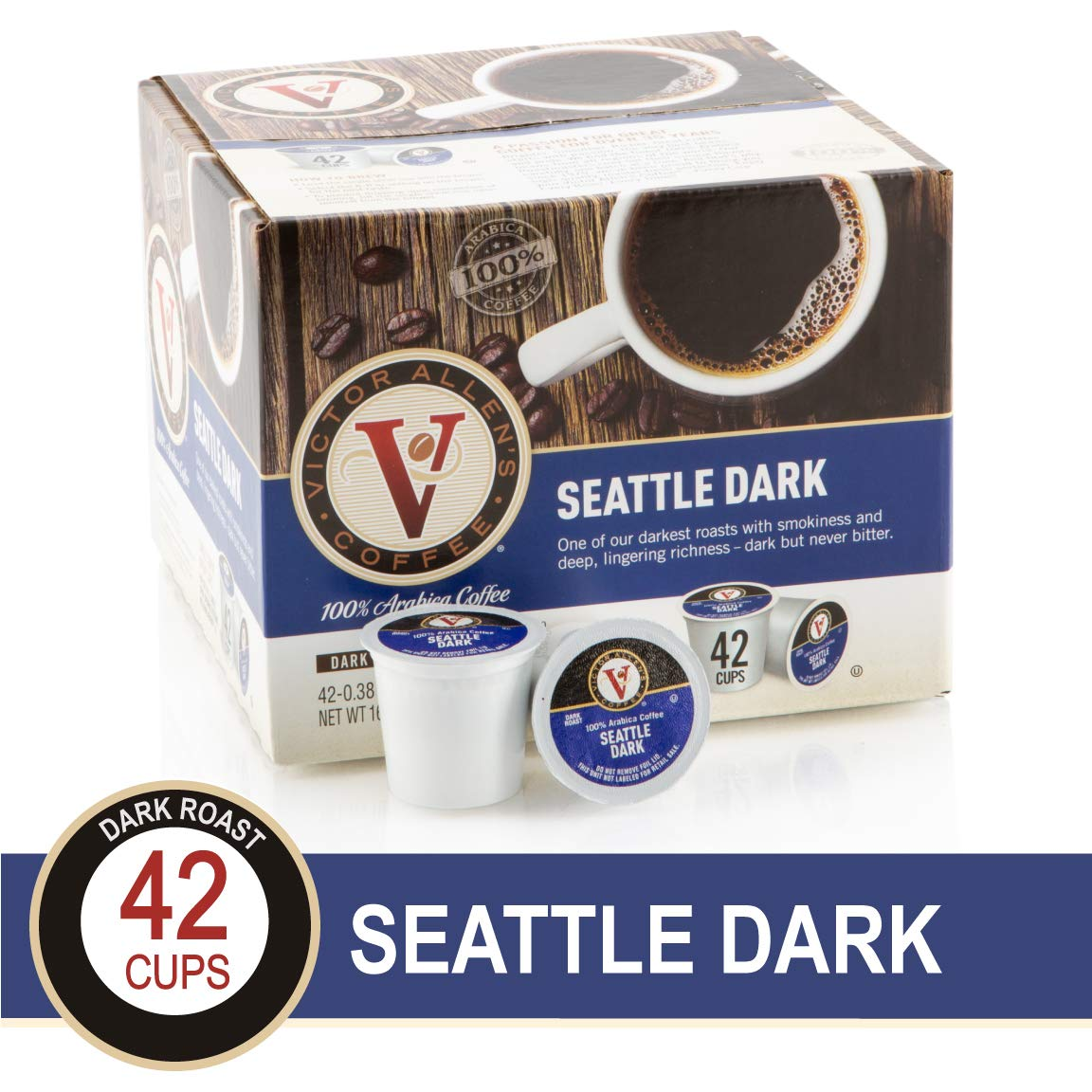 Seattle Dark for K-Cup Keurig 2.0 Brewers, 42 Count, Victor Allen's Coffee Dark Roast Single Serve Coffee Pods