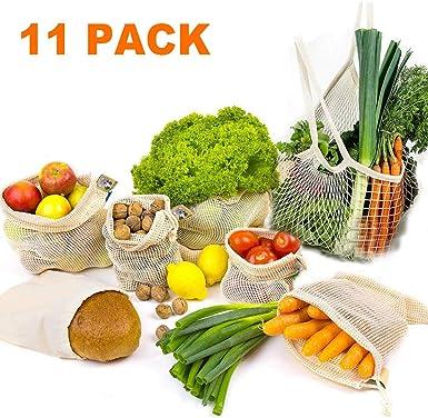 Bolsas para verduras, juego de 11 bolsas de algodón reutilizables para frutas y verduras, bolsa de red, bolsa de la compra, red para frutas, bolsas para verduras, bolsa de compras, almacenamiento: Amazon.es: