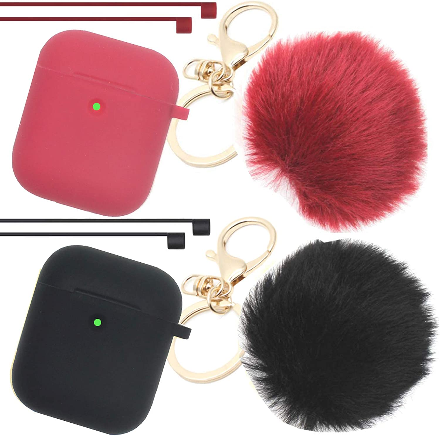 Airpods Case Newest Upgrade (Front LED Visible) ANTARCTICASE Skin Drop Proof Protective Pompom Keychain Case Cover Silicone for Apple Airpods 2&1 Charging Cute Fur Ball Keychain (Burgundy+Black)