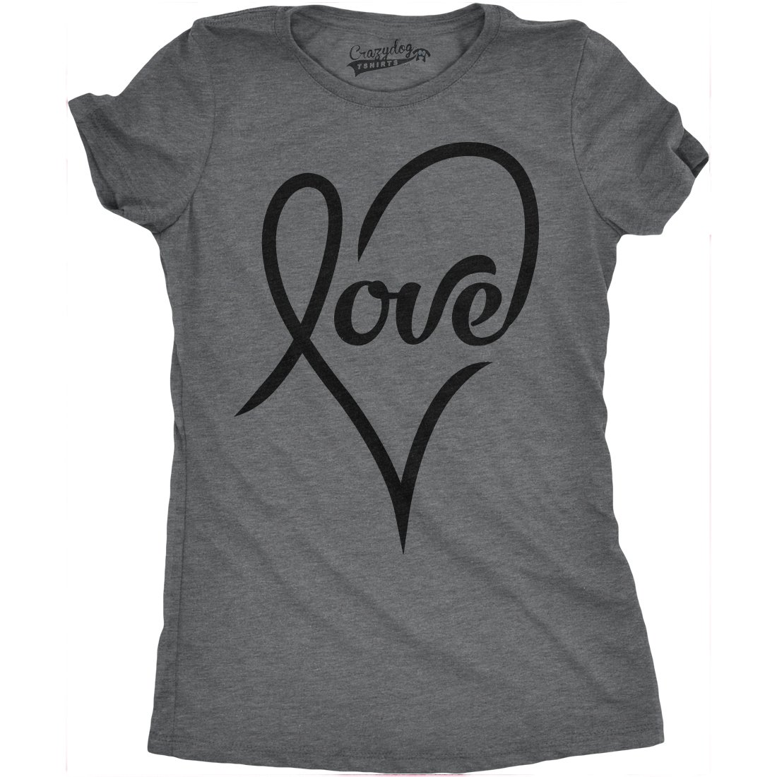 Womens Love Cursive Heart Design Cute Valentines Day Girly T shirt Crazy Dog Tshirts 017LoveCursiveWMN