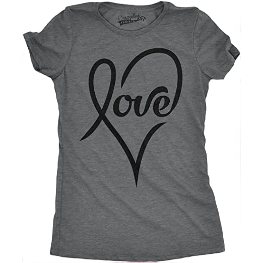 Amazon Com Womens Love Cursive Heart Design Cute Relationship Girly