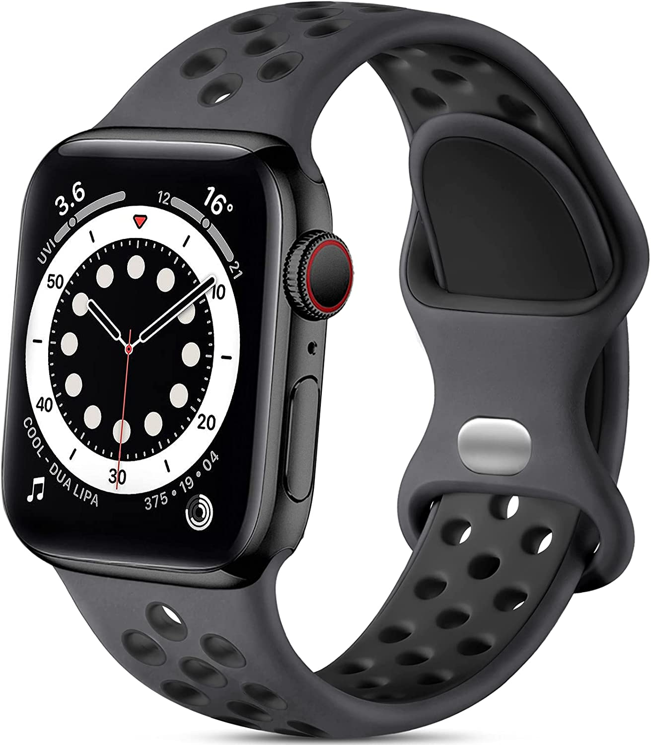 Lerobo Sport Bands Compatible with Apple Watch Band 44mm 42mm for Women Men, Soft Silicone Breathable Replacement Bands Compatible for Apple Watch SE iWatch Series 6 5 4 3 2 1, Anthracite Black, M/L