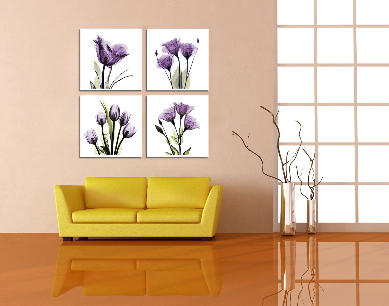 HLJ ART 4 Panel Elegant Tulip Purple Flower Canvas Print ...