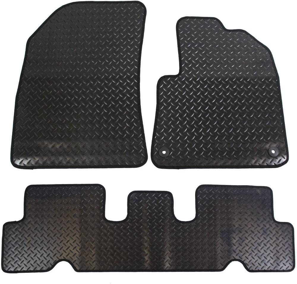 Black JVL Citroen C4 Picasso MK2 2014 Fully Tailored 3 Piece Rubber Car Mat Set with 2 Clips