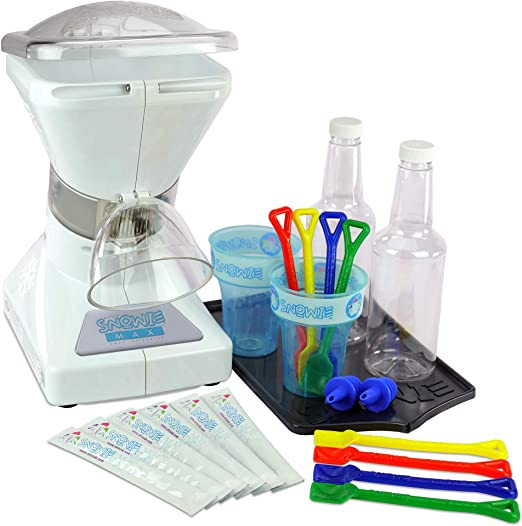 Little Snowie Max Snow Cone Machine - Premium Shaved Ice Maker, With Powder Sticks Syrup Mix, Summer Kit