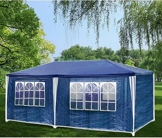 Hengda® Cenador de Incluye 6 páginas extraíbles Impermeable PE 3 x 6 m XXL Party Jardín Tienda de Calidad, Azul: Amazon.es: Jardín