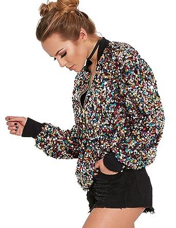 7e6c532ec Amazon.com: TR Women's Colorful Sequins Bomber Jacket Hip-hop Jacket ...