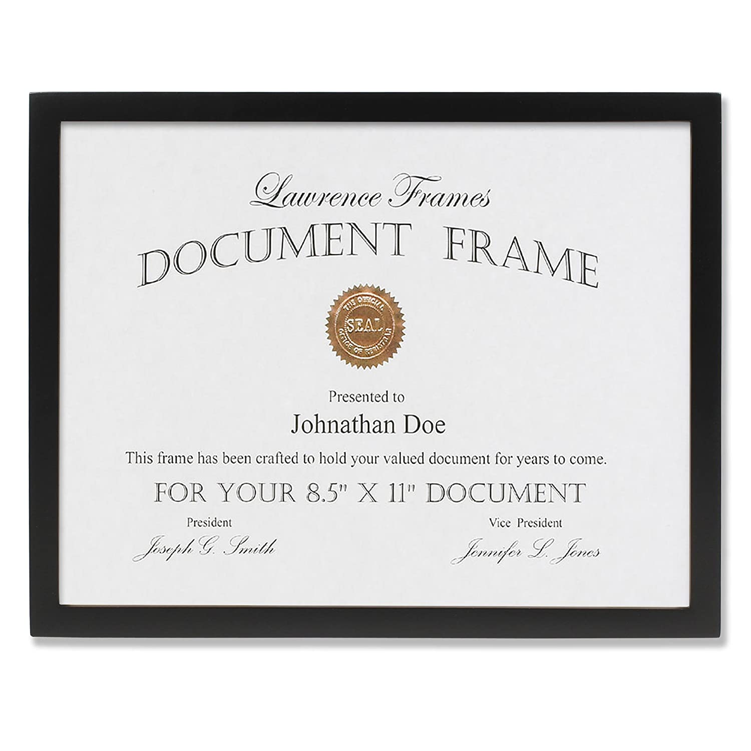 Lawrence Frames Black Wood Certificate Picture Frame, Gallery Collection, 8-1/2 by 11-Inch 755581