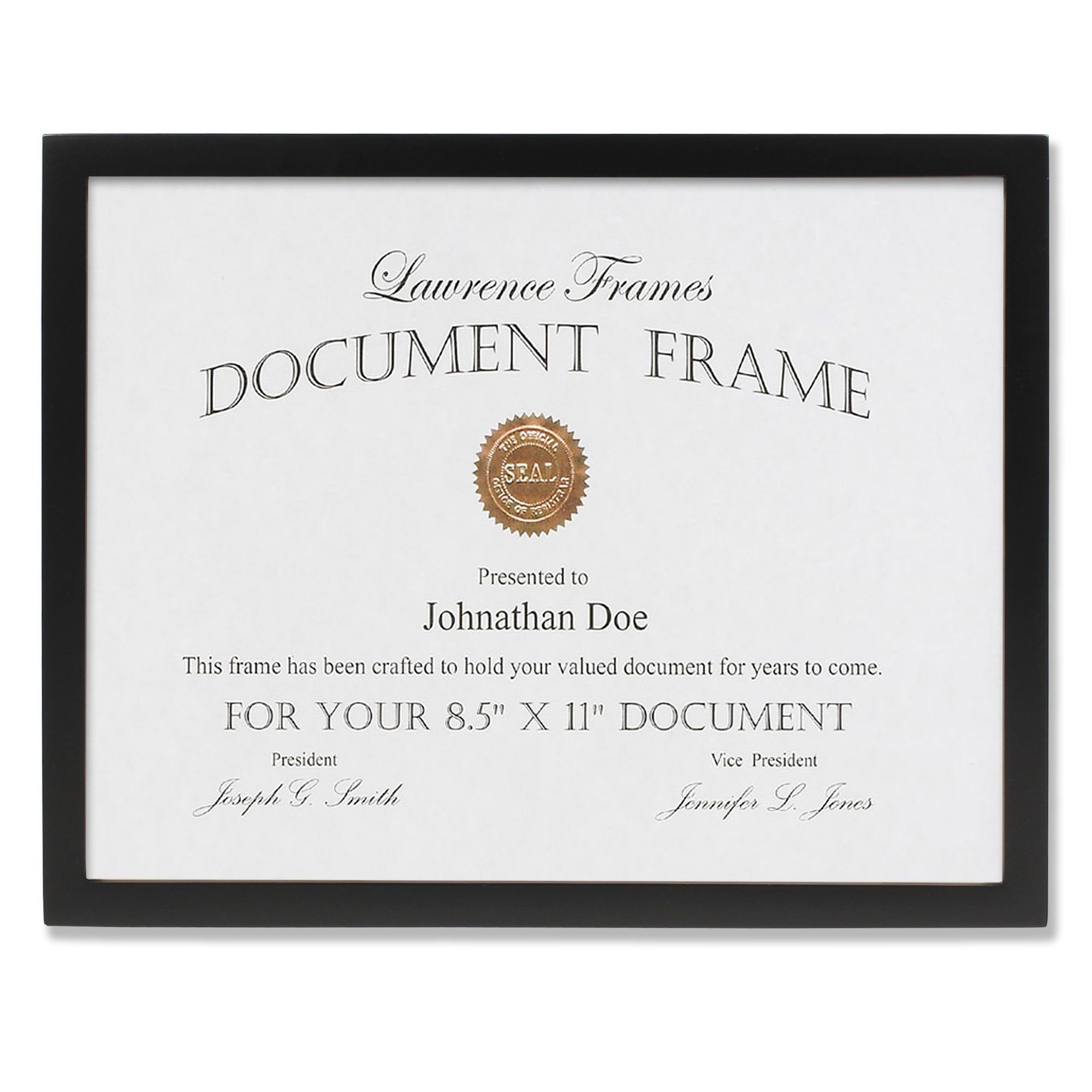 Lawrence Frames Black Wood Certificate Picture Frame, Gallery Collection, 8-1/2 by 11-Inch by Lawrence Frames