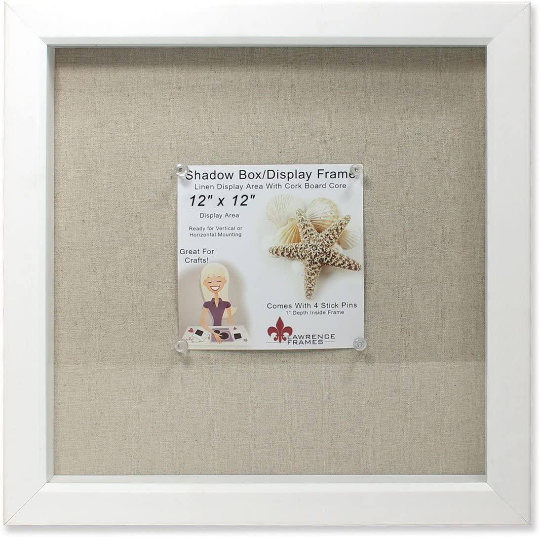 Lawrence Frames 168112 Shadow Box Frame with Linen Inner Display Board, 12 by 12-Inch, White